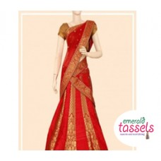 Traditional Red Hlaf Saree